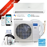 Mr Cool Olympus Hyper Heat 9K BTU Heat Pump Condenser & Wall Mount Air Handler 230 volt 25 SEER WiFi 16 Foot Installation Kit